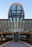 Drev po för Liege Guillemins järnvägsstationSantiago Calatrava IS Arkivbilder