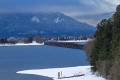 Drev som korsar en bro i vintern arkivfoton