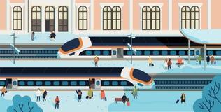 Drev stoppade mot järnvägsstationbyggnad på bakgrund, folket som går och väntar på plattformen som täcktes av snö stock illustrationer