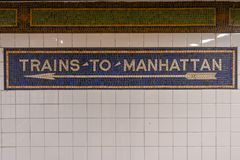 Drev till Manhattan - NYC-gångtunnel Fotografering för Bildbyråer