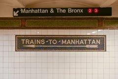 Drev till Manhattan - NYC-gångtunnel Arkivfoto