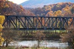 Drevbro över floden Royaltyfri Fotografi