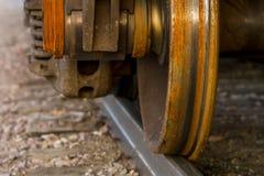 Drevhjul på järnvägspår Royaltyfri Fotografi