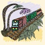 Drevklotter royaltyfri illustrationer