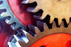 Drevkugghjulet för mekanisk maskin i fabrik Arkivfoto