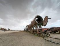 Drevkyrkogård i Uyuni som är boliviansk Arkivfoto