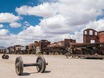 Drevkyrkogård i Uyuni som är boliviansk Royaltyfri Bild