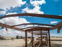 Drevkyrkogård i Uyuni som är boliviansk Fotografering för Bildbyråer