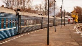 Drevlagledareanseende på stationen Royaltyfria Foton