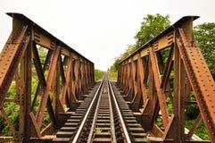 Drevspår och bro Fotografering för Bildbyråer