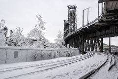 Drevspår och snö Royaltyfria Foton
