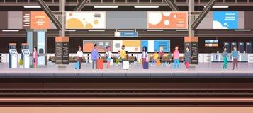 Drevstation med folk som väntar på för för bagagetransport och trans. för plattform hållande baner för begrepp horisontal stock illustrationer