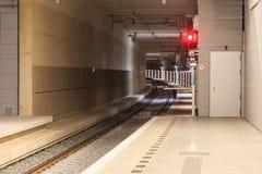 Drevstation och tunnel Arkivbilder