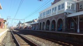 Drevstationer och järnväg linjer Arkivfoto
