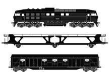 Drevuppsättning med lokomotiv- och fraktwaggons stock illustrationer