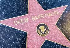 Drew Barrymore stjärna, Hollywood arkivbild