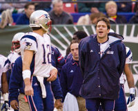 Drew Bledsoe and Tom Brady. Stock Image