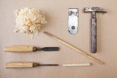 Drewien narzędzia układali odgórnego widok Zdjęcia Royalty Free