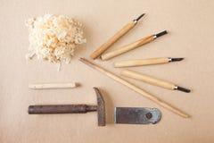 Drewien narzędzia układali odgórnego widok Zdjęcie Royalty Free