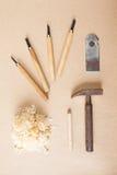 Drewien narzędzia układali odgórnego widok Obrazy Stock