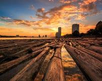 Drewna w wodzie z zmierzchu niebem obrazy stock