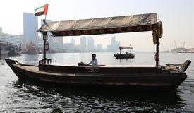 Drewniana łódź dla transportu ludzie w Dubaj Fotografia Royalty Free