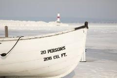 Drewniana łódź, Petoskey Pierhead latarnia morska, Petoskey, Michigan wewnątrz Obraz Stock