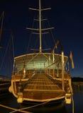 Drewniana łódź przy nocą Obrazy Royalty Free
