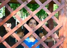 drewniana ładna dziewczyny sieć Zdjęcia Stock