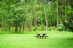 Drewniana ławka i stół w lesie Zdjęcia Stock