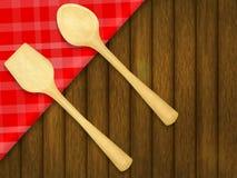 Drewniana łyżka i szpachelka na czerwonym w kratkę tablecloth ilustracji