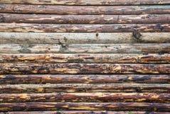 Drewniana ściana od bel jako tło tekstura zdjęcia stock