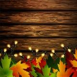 Drewniana ściana z jesień liśćmi ilustracja wektor