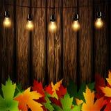 Drewniana ściana z jesień liśćmi ilustracji