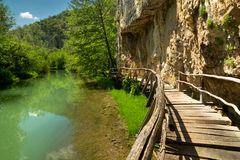 Drewniana ścieżka wzdłuż rzeki Zdjęcia Stock
