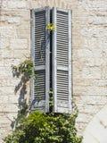 Drewniana żaluzja na historycznym domu w Włoskim mieście zdjęcie royalty free