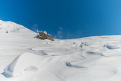 Drewniana buda w Śnieżnym krajobrazie Obrazy Stock