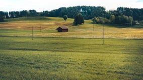 Drewniana chałupa na zielonej łące, pole Fotografia Stock
