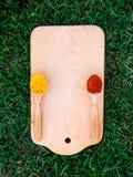Drewniana ciapanie deska, łyżka, łopata, trawa i pikantność, Odgórny widok z kopii przestrzenią Obraz Stock