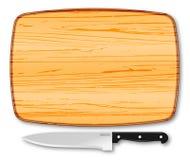 Drewniana ciapanie deska, nóż i Obrazy Royalty Free