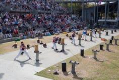 Drewniana ciapanie rywalizacja, jest sportem który był przedstawieniem ound dla setek rok w Australia Wydarzenie przy Sydney wiel fotografia stock