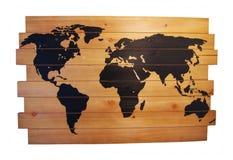 Drewniana ścienna mapa z szpilkami Zdjęcie Royalty Free