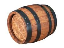 Drewniana dąb baryłka odizolowywająca na białym tle Zdjęcia Royalty Free