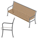 Drewniana 3d ławka Fotografia Royalty Free