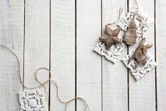 Drewniana dekoracja na drewnianym tle Obrazy Royalty Free