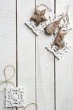 Drewniana dekoracja na drewnianym tle Obraz Stock