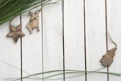 Drewniana dekoracja na drewnianym tle Zdjęcie Stock