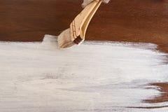 Drewniana deska malująca w białym kolorze Obraz Stock
