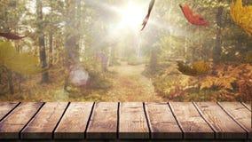 Drewniana deska przeciw jesień liściom zbiory