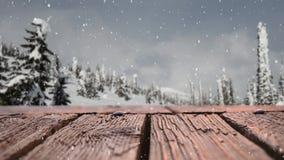 Drewniana deska z cyfrowym śniegiem zbiory